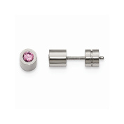 Stainless Steel Cz Oct Birthstone Synthetic Polished Post Earrings