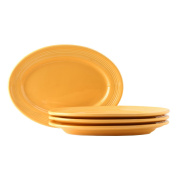 Tuxton Home Concentrix Oval Platter (Set of 4), 25cm , Saffron Yellow; Restaurant Grade Nonporous Virtrified China; Thermal Shock Tested