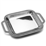 Wilton Armetale Flutes and Pearls Rectangular Serving Tray with Handles, 46cm -by-30cm