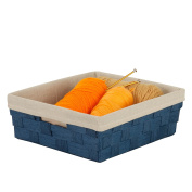 Honey-Can-Do STO-03738 Paper Rope Tray with Handles and Liner, 15 by 33cm by 13cm , Blue