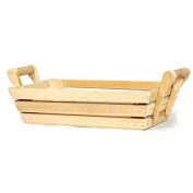 The Lucky Clover Trading Wood Crate Tray Basket with Handles, Small