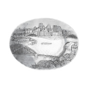 Wendell August Forge Pittsburgh Cityscape Oval Dish, Small