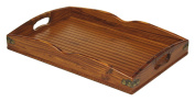 Mountain Woods Valencia Antique Style Hardwood & Bamboo Serving Tray with Rattan & Metal Accents