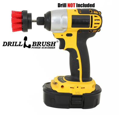 5.1cm Diameter Small Round Drill Powered Stiff Scrub Brush Attachment for Heavy Duty Cleaning