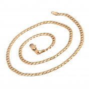 Romantic Time Mens 18k Rose gold Plated Curb Chain Necklace