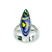 Sterling Silver Multicolor Dichroic Glass Oval Shaped Ring