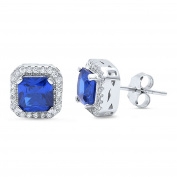 Halo Wedding Stud Post Earring Princess Cut Square Simulated Blue Tanzanite Round CZ 925 Sterling Silver
