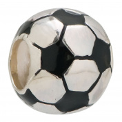 925 Sterling Silver Soccer Football Enamel Charm Bead Fits Pandora Charms