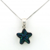 Blue Star Dichroic Glass Sterling Silver Pendant on 46cm Silver Chain