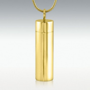 Perfect Memorials Cylinder Gold Polished Stainless Steel Cremation Jewellery