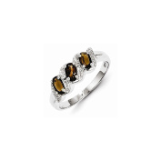 Best Birthday Gift Sterling Silver Rhodium Smoky Quartz & Diamond Ring