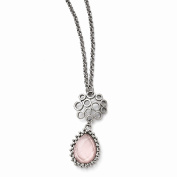 Perfect Jewellery Gift Stainless Steel Polished Rose Quartz w/5.1cm ext. Necklace