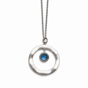 Top 10 Jewellery Gift Stainless Steel Polished Blue Glass Circle w/ 5.1cm ext. Necklace