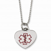 Perfect Jewellery Gift Stainless Steel Heart Shaped Medical Pendant 60cm Necklace