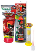 """Power Rangers """"Dino Charge"""" 3pc Bright Smile Oral Hygiene Set! Turbo Powered Spin Toothbrush, Toothpaste & Brushing Timer! Plus Bonus """"Remember to Brush"""" Visual Aid!"""