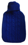 Warm Tradition Blue Cable Knit Covered Hot Water Bottle - Bottle made in Germany