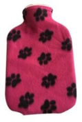 Warm Tradition PAWPRINT PINK Fleece Covered Hot Water Bottle- Bottle made in Germany, Cover made in USA