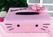 SuperLi Hello Kitty Bow-knot Pink PU Leather Tissue Box Holder Napkin Box Pumping Paper Box