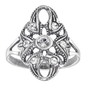 Van Kempen Art Nouveau Ring with Crystals in Sterling Silver Size 7 1/4