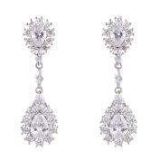 Wordless Love Rhodium Plated Full Prong Cubic Zirconia Women's Wedding Teardrop Pierced Earrings