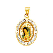 14k Yellow Gold Blessed Virgin Mary Cubic Zirconia Border Pendant