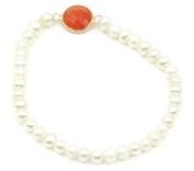 Freshwater White Pearl & Coral Elastic Bracelet,14k Yellow Gold 60cm