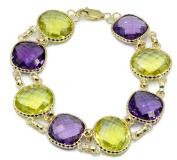 Purple & Lemon Amethsyt Bracelet With 14k Yellow Gold Lobster Lock, 18cm Long