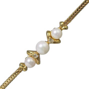 14K Yellow Gold Pearl and Diamond Bracelet