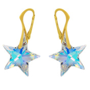 """Royal Crystals """"Made with Crystals"""" Aurora Borealis Star 24k Gold Plated Sterling Silver Earrings"""
