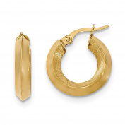 Solid 14K Satin and Polished Bevelled Edge Hoop Earrings