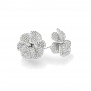 Sterling Silver Rhodium Plated Beautiful Pave CZ Shimmering Plumeria Stud Earrings