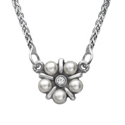 Van Kempen Art Nouveau Simulated Pearl Necklace with Crystals in Sterling Silver