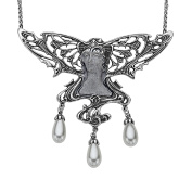 Van Kempen Art Nouveau Simulated Pearl Fairy Necklace in Sterling Silver