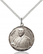 Sterling Silver Round Patron Saint Medal Pendant, 1.9cm