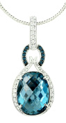26.93 Carats Fine Grade London Blue Topaz Rhodium-Plated Sterling Silver Pendant with Chain