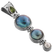 Handmade Peridot Blue Mabe Cultured Pearl 925 Sterling Silver Pendant, 5.1cm
