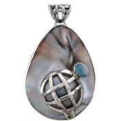 Opal Doublet Mabe Cultured Pearl 925 Sterling Silver Pendant, 5.2cm
