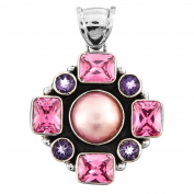 Pink Mabe Cultured Pearl Pink Cubic Zirconia Amethyst 925 Sterling Silver Pendant , 5.2cm