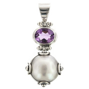 Handmade Amethyst White Mabe Cultured Pearl 925 Sterling Silver Pendant, 4.3cm