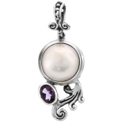 Amethyst White Mabe Cultured Pearl Bali Scrollwork 925 Sterling Silver Pendant , 3cm