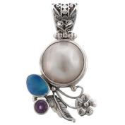 Handmade Opal Amethyst Mabe CulturedPearl 925 Sterling Silver Pendant , 3.5cm