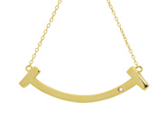 Fine Sterling Silver Engraveable Curved Smile Necklace in 18k Gold Plating, 41cm + 5.1cm Fronay Collection