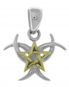 Jewellery Trends Sterling Silver and 14K Gold-Plated Triple Moon and Pentagram Pendant