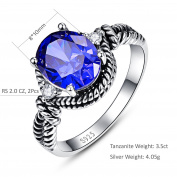 Bonlavie Women's 3.5ct Oval Cut Blue Tanzanite 925 Sterling Silver Ring Wedding Engagement Ring