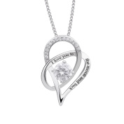 """925 Sterling Silver """"I Love You To The Moon and Back"""" Love Heart Pendant Necklace"""