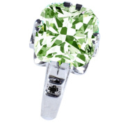 RINGJEWEL 6.51 ct SI1 Cushion Moissanite Silver Plated Engagement Ring Off White Light Green Colour Size 7