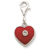925 Sterling Silver Red Enamelled CZ Heart Charm Pendant 27mm x 13mm