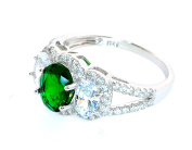 Sterling Silver Simulated Emerald and Simulated Diamond Ring-