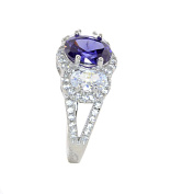 Sterling Silver Simulated Tanzanite and Simulated Diamond Ring-