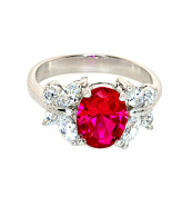 Sterling Silver Simulated Ruby and Simulated Diamond Ring-